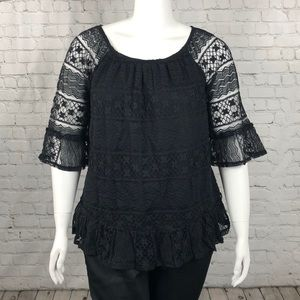 Style & Co Black Lace Overlay Top Plus Size 1X
